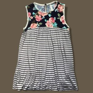 Vanilla Bay Striped & Floral Tunic w/ Lace Detail